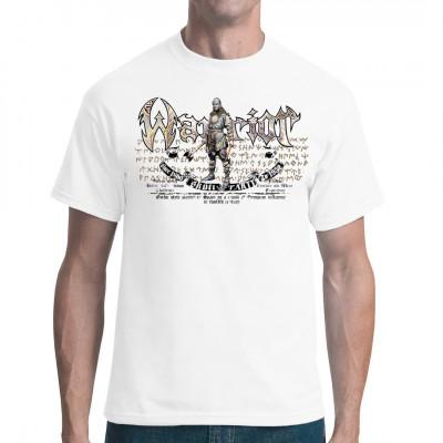Gotische Krieger mit 2 Äxten. Cooles Shirt Motiv mit einem mittelalterlichen Krieger.