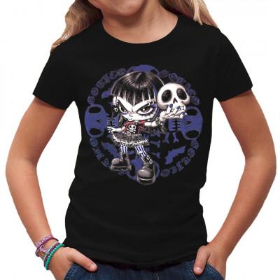 Passen witzige Comic - Motive und die Schwarze Szene zusammen? Aber sicher, dieses tolle Shirt Motiv ist der Beweis. Unsere kleine Grufti-Braut ist nicht nur für Kinder der Hit, sondern passt auch wunderbar auf große T-Shirts, Sweatshirts oder V-Necks...