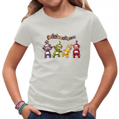 """T-Shirt Motiv: Telehooligans  Die Teletubbis kennt jeder, doch keiner weiß wie sie eigentlich hinter der Kamera ticken. Lustiges Fun-Shirt Motiv, ,,die Telehooligans"""" ."""