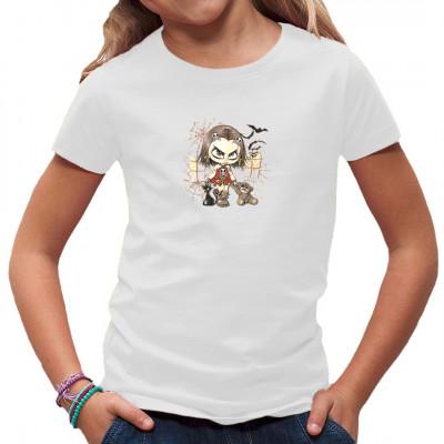 Dieses Gothic Girly fängt früh an. Wer hat behauptet, dass Teddybären nicht goth sein können?  Fun Motiv für Gothic Kids.
