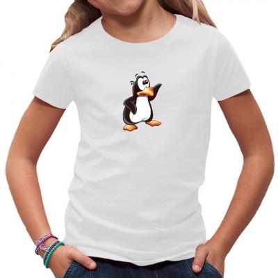 Mit seinem atypischen orangen Schnabel und Füßen könnte dieser kleine, neugierige Pinguin der schlankere Bruder von Tux, dem Linux - Maskottchen sein. Anders als Tux lebt dieser kleine Kerl hier aber nicht auf einer Festplatte, sondern auf Deinem T-Shirt.