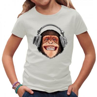 T-Shirt Motiv: Musik Monkey  Cooles Fun-Shirt Motiv. Ein durchgeknalter Affe mit Kopfhörern. Ein tolles Motiv für Musikverrückte.