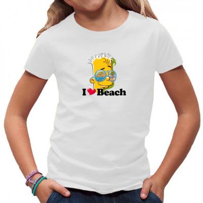 Motiv: Bart Simpson - I ♥ Beach  Für alle Fans der Simpsons kommt hier ein tolles Sommermotiv. Eigentlich ist dieses Shirt zu schade, um es am Strand auszuziehen. Zum Glück sind unsere Motive wasserfest.