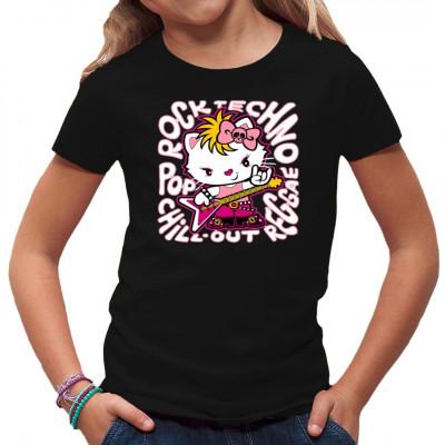 Wenn es um Musik geht, ist Kitty in ihrem Element. Gib der Miez ein Nietenarmband, Stiefel und einen Bass, und sie rockt die Bude. Cooles Musik-Motiv, nicht nur für Kinder.