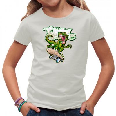 T-Shirt - Motiv: Free Wave Skate Ein T-Rex auf einem Skateboard? Warum auch nicht, auch Dinos wollen ihren Spaß.    Motivgröße 29x27cm