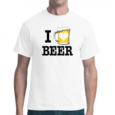 T-Shirt Motiv: I Love Beer  Bierkrug mit I Love Beer Schriftzug. Tolles Motiv für dein Fun-Shirt.
