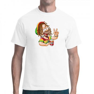 T-Shirt Motiv: Jamaican Homer  Was würde passieren wenn Homer aus Jamaika stammen würde? - Wahrscheinlich genau das hier.  Reggae Homer, mit Joint, Rastas und Bier. Das perfekte Motiv für Reggae- und Simpsons-Fans.