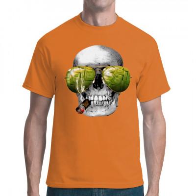 T-Shirt Motiv: Smoking Skull  Cooles Gangster Style Motiv. Ein Zigarre rauchender Totenkopf. In seiner Pilotenbrille spiegeln sich Dollarscheine.