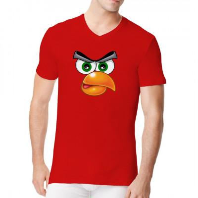 T-Shirt Motiv:Angry Bird  Cooles Angry Bird Face. Das Passende Motiv für alle Fans der aggressiven Vögel.