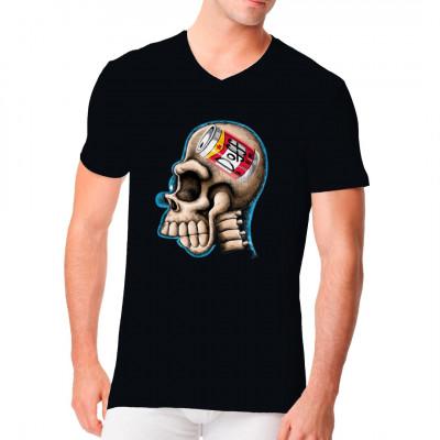 T-Shirt-Motiv: Homer X-Ray  Lustiges Fun-Shirt Motiv. Homers Kopf als Röntgenbild. Wie immer hat er nur eins im Kopf, Bier ! Perfektes Motiv für jeden Simpsons Fan.