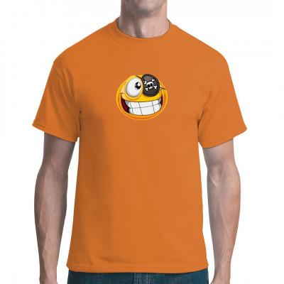 T-Shirt - Motiv: Piratensmiley Dieses Smiley ist unter die Seeräuber gegangen, inklusive Totenschädel - Augenklappe.   Motivgröße: 19x17cm