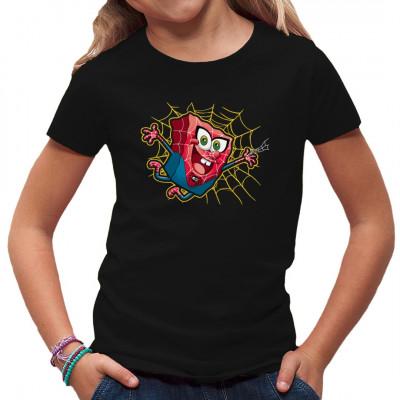 Kinder T-Shirt Motiv. Spider Bob  Cooles Kids-Motiv. SpongeBob im Spidermankostüm schwingt sich mit seinem Netz durch die Stadt. Perfekt für SpongeBob und Spiderman Fans.
