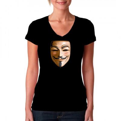 T-Shirt Motiv: Vendetta Guy Fawkes Mask  Diese Maske simbolisiert den Verursacher des Gunpowder Plot Guy Fawkes. Heutzutage ist sie eher ein Symbol des Internetkollektivs Anonymous.  Auch V aus V for Vendetta  hat diese Maske getragen.
