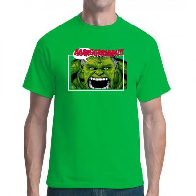 T-Shirt Motiv: Dr. Banner Arrrgh! Der Unglaubliche ist zurück und er ist wütend. Cooles Comic-Motiv deines Lieblings-Superhelden.  Das passiert wenn Dr. Banner wieder einmal mutiert.