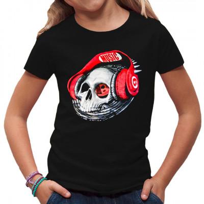 Totenschädel mit roten Kopfhörern. Tolles Shirt Motiv für alle Musik - Fans  Motiv ist nur für dunkle Farben geeignet Motivgröße: 28x27cm
