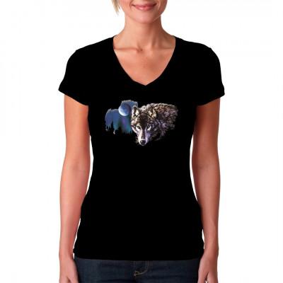 Wolf mit Mond , Europa - Wildlife, Sonstige, Tiere & Natur, Wölfe, Tiere & Natur