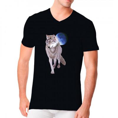 Wolf mit Mond, Europa - Wildlife, Sonstige, Tiere & Natur, Wölfe, Tiere & Natur