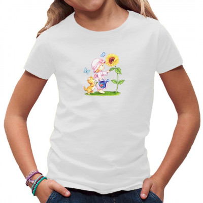 Kleines Mädchen mit Katze und Schmetterlingen neben einer Sonnenblume. Niedlicher T-Shirt - Aufdruck, nicht nur für Kids