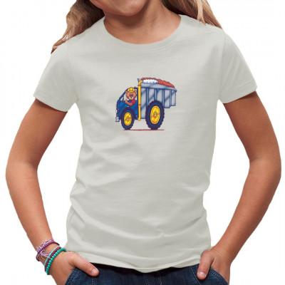 Teddybär im Kipplaster als Comic Motiv für dein Shirt Witziges Motiv für Kids