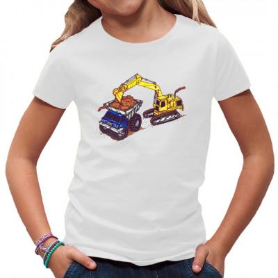 Comic - Motiv mit einem Bagger und Muldenkipper   Tolles Shirt für alle, die auch in ihrer Freizeit am liebsten noch große Baumaschinen fahren würden.