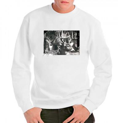 Prächtige Hirsche im Wald Tolles Shirt Motiv, nicht nur für passionierte Waidmänner.