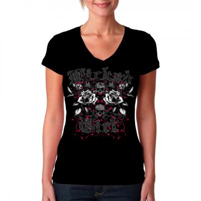 """Totenköpfe und Rosen unter dem Schriftzug """"Wicked Girl"""" als Oversize - Print für dein T-Shirt, V-Neck oder Sweatshirt."""