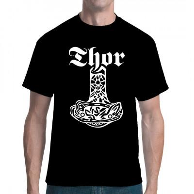 Thors Hammer Mjölnir als cooler Druck für dein Shirt Hol dir jetzt die legendäre Waffe des Donnergottes und zeig dein Verbundenheit mit den Asen.