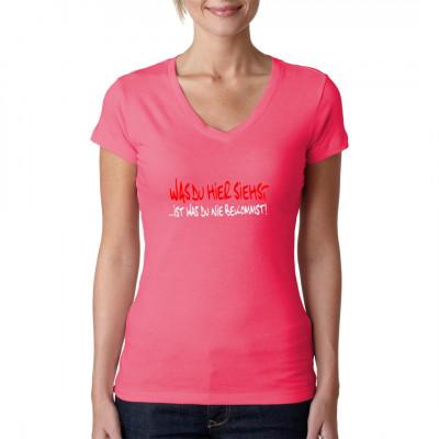 Was du hier siehst ist was du nie bekommst!  Das ideale T-Shirt um lästige Verehrer/innen abzuwimmeln. Egal ob auf einer Party, auf Arbeit oder im Seminar, für diesen Shirt Spruch gibt es immer Anwendungsmöglichkeiten.