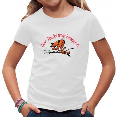 Der Teufel trägt Pampers! So ein kleiner Hosenscheißer kommt gestressten Eltern häufig vor wie die Inkarnation des Morgensterns. Witziges Kids Fun Shirt Motiv