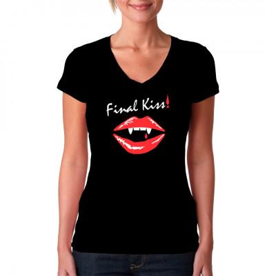 Vampir Shirt Motiv: Final Kiss  Blutrote Lippen und glänzende Fangzähne, so sieht der finale Kuss einer Vampirin aus.