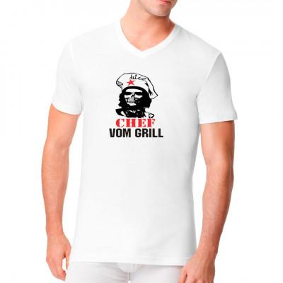 Chef vom Grill Shirt im Stil eines Che Guevara Plakates  Fun Shirt für alle Grillmeister