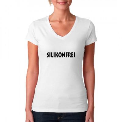 Fun Shirt Motiv: Silikonfrei Bei dir ist noch alles echt? Der Natur wurde nicht auf die Sprünge geholfen? Dann zeig es mit diesem frechen Spruch auf deinem Shirt. Mittels Flexdruckverfahren aufgebracht. waschfest