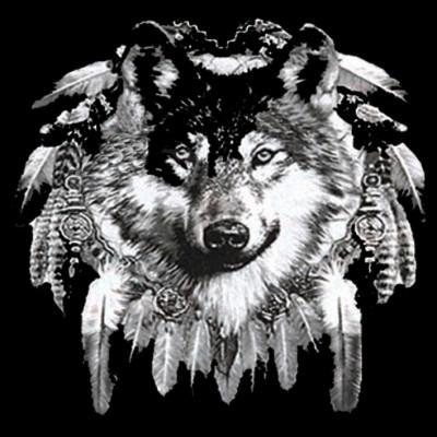 Wolfskopf im Indianerlook - Oversize , E - Ethno, Sonstige, I - Indians, MOTIVE P - Z, Tiere, Haustiere, X - XXL Motive, Z - Zoo, ALLE MOTIVE, Tiere & Natur, Country/Western/Indians, WILDE TIERE, Wölfe