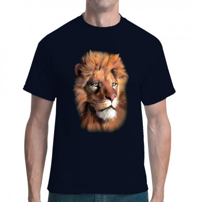 T-Shirt - Motiv : Fotorealistischer Löwenkopf  Mittels Transfer Siebdruckverfahren aufgebracht. waschfest