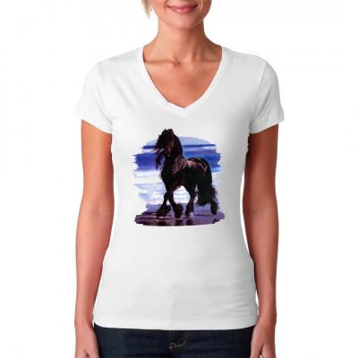 T-Shirt - Motiv : Pferd am Strand  Mittels Transfer Siebdruckverfahren aufgebracht. waschfest
