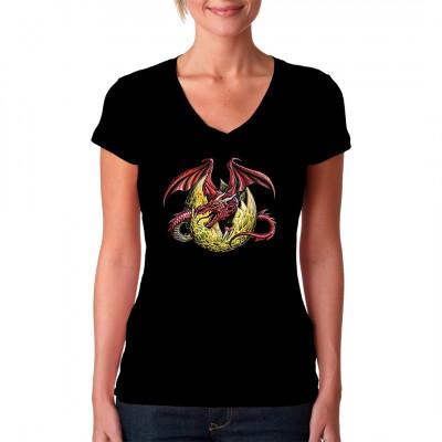 Roter Dracher, der aus einem goldenen Ei schlüpft. Fantasy Print für dein T-Shirt, Sweatshirt oder V-Neck