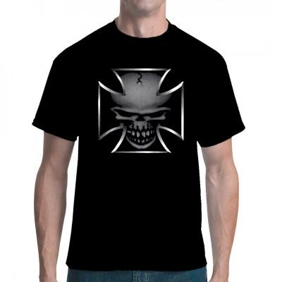 Biker EK Kreuz mit Totenkopf Schädel Dead - Motiv für helle und dunkle Textilien geeignet