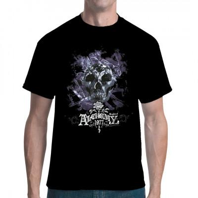 Totenschädel mit Eiskristallen Düsteres Alchemy England Gothic Motiv als Oversize Druck für dein Shirt.