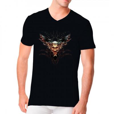 Magistian Spectre Dämonischer Totenkopf mit Tribals  Düsteres Gothic Motiv aus der Alchemy - Reihe für dein T-Shirt, Sweatshirt oder V-Neck als Oversize Print in S - 5XL