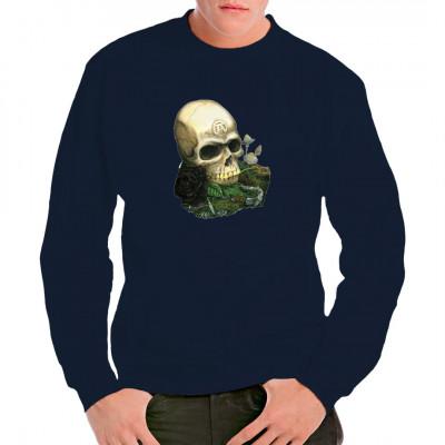 Totenkopf mit Pilzen, Kröte und Alchemie-Symbol.  Toller Gothic Shirt Aufdruck