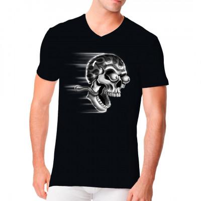 T-Shirt - Motiv : Schreiender Totenkopf
