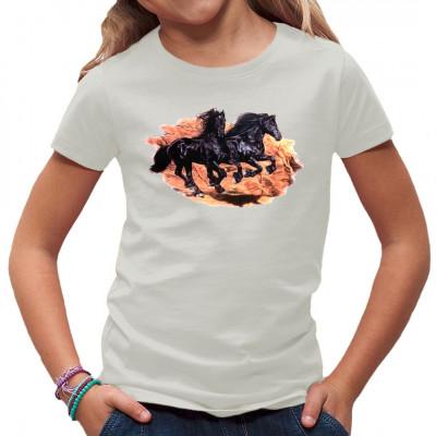 T-Shirt - Motiv : Galoppierende Pferde  Mittels Transfer Siebdruckverfahren aufgebracht. waschfest