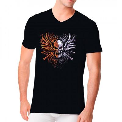 Geflügelter Totenkopf in leuchtenden Farben für dein T-Shirt, Sweatshirt oder V-Neck. Cooles Biker Shirt Motiv.
