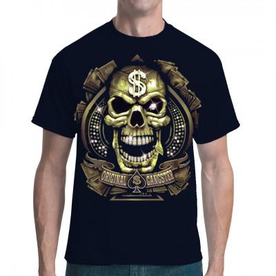 T-Shirt - Motiv : Original Gangster Dollar Totenkopf