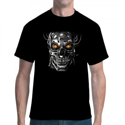 Roboter Schädel Motiv. Ein Cyborg Schädel Motiv mit leuchtenden Augen für ein cooles T-Shirt Motiv.  Motivgröße: 36 x 34 cm Mittels Transfer Siebdruckverfahren aufgebracht. waschfest