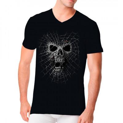 T-Shirt - Motive : Totenkopf Spinnennetz mit Schwarzer Witwe