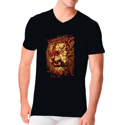 Brennender Löwenkopf, F - Fashion, Sonstige, Tattoo Style, Tiere & Natur, Männer & Frauen, Tiere & Natur