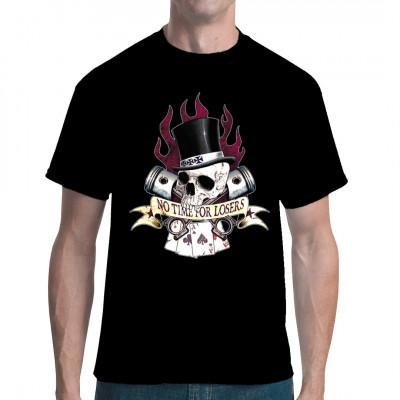 Für alle Fans der Biker Szene. Ein Muss für jeden Rockabilly. Erhalte hier ein echt cooles Motiv mit Skull Knochenschädel und einem Zylinder. Flammen im Hintergrund mit Pokerkarten. An der Seite sieht man jeweils einen Zylinderkolben.