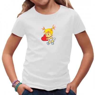 Mädchen mit Herz - süßes Motiv für Kinder- und Frauenshirts.