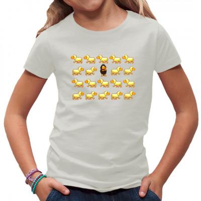 Lustiges Kids-Motiv für Dein T-Shirt: Das Schwarze Schaf der Herde ist ein echter Rüpel und zeigt der Welt den Stinkefinger.